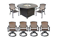 Elisabeth patio 7pc fire pit dining set with round propane table Dark Bronze