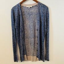 Ann Taylor LOFT Blue Cardigan Sweater Size M Long Sleeves Animal Print B4