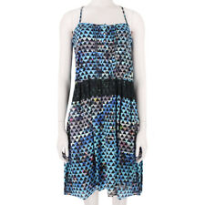 Proenza Schouler Black Blue Pool Collage Print Silk Cami Dress US2 UK6
