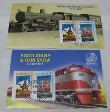2017 Australia Perth Stamp & Coins Show + Regular  Trans-Australian Railway mini