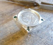 Signet ring silver squared with piece 1 Franc Napoleon III and 4 oxides green