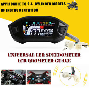 1*Universal LED Speedometer LCD Digital Odometer Guage 14000r/min For Motorcycle