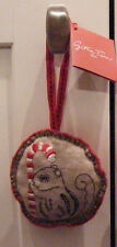 NWT Crate & Barrel Cynthia Treen Linen Embroider Squirrel Christmas Ornament