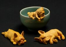 "D155ca - 2"" Hand Carved Boxwood Carving Figurine - Set of 3 Dogs Bulldogs"