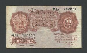 BANK OF ENGLAND  Mahon  10 sh  1928 W B210  Fine   Banknotes