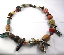 """Wood / Brass / Abalone / Clay Chunky African Tribal Necklace 30"""" Long Stone /"""