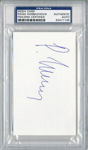 PSA/DNA SIGNED  INDEX CARD  RAISA GORACHEV   1196