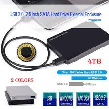 "4TB Black Pocket Size External For Hard Drive Disk Drives Case  USB 3.0 2.5"" Box"