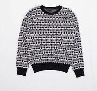 Topshop Womens Size S-M Geometric Wool Black Jumper (Regular)