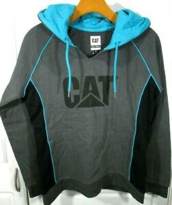 NEW ~ Caterpillar ~ Madison Hoodie ~ Sweatshirt CAT ~ GRAY BLACK TEAL ~ SMALL