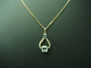 8kt 333 Rose Gold Chain & Pendant with 0,93ct Aquamarine & Seed Beads Trim /
