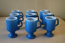 Set of 9 Vintage Anchor Hocking Electric Blue Tall Footed Coffee Mugs