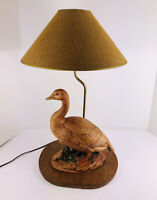 Vintage Rare  Ceramic  Duck Electric Table Lamp Wooden Base brown shade,