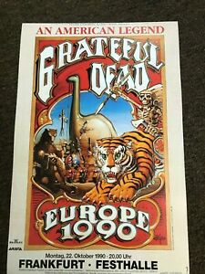 "Grateful Dead 1990 Europe Germany Without a Net Cardstock Concert 12"" x 18"""