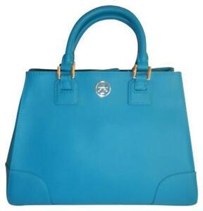 Tory Burch Robinson Triangle Electric Blue Saffiano Leather Satchel Tote Handbag