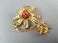Vintage Costume Flower Pin Goldtone Brooch