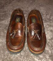 Tommy Hilfiger Brown Leather Shoes Sz Men's 12 Loafers Tassels Vintage M14435