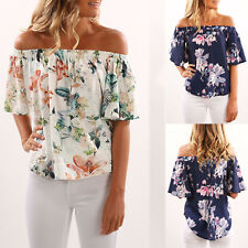 Summer Women Off Shoulder Top Short Sleeve Floral Casual Loose Shirts Blouse Tee