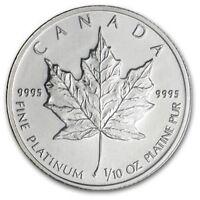 1/10 oz Platinum Maple Leaf (Canada) Canadian Random Year $5 BU