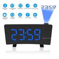 Radiowecker mit Projektion Funkuhr LED USB FM UKW Digital dimmbar Tischuhr Alarm