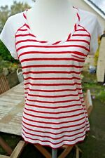 Laura Ashley Red & White Stripe Casual Top/T-shirt UK 12 - Nautical