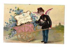 ANGE-FACTEUR en LIVRAISON d'une CHARETTE de FLEURS MIOSOTIS en 1906