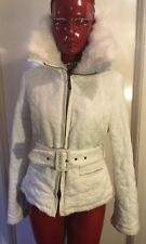 BEBE White Quilted Belted Jacket With Leather Trim, Fur Collar. Women's Size M.