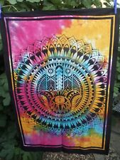 Hamsa Hand Wall Hanging Fair Trade Cotton Tie Dye Art Table Cloth Boho Gift