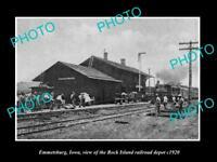 OLD LARGE HISTORIC PHOTO OF EMMETSBURG IOWA, THE ROCK ISLAND RAILROAD DEPOT 1920