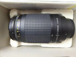 Nikon Black AF 70-300mm F4-5.6 G AF Telephoto Zoom Lens + F/R  Caps  Boxed