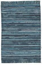 "Dollhouse Miniatures self fringed rug in multi shades of blue 5 1/2"" x 9"""