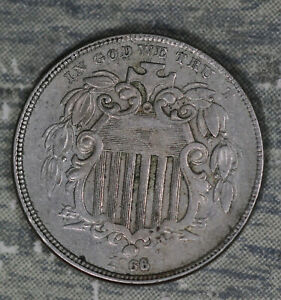 Nice Very Fine Condition 1866 W/Rays Shield Nickel!!
