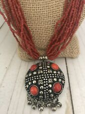 """Nepalese Silver Tone And Coral Beaded Pendant Multistrand Necklace 24"""""""