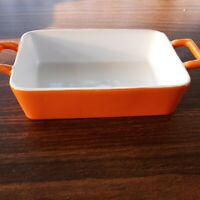 "Crate & Barrel Orange Stoneware Double Handled Casserole Baking Dish 7.5"" x 5"""