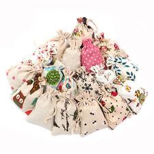 50-100pcs Printed Cotton & Linen Candy Gift Bags Handmade Drawstring Wedding DIY