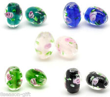 50 Mixed Flower Glass Lampwork Beads 14x10mm