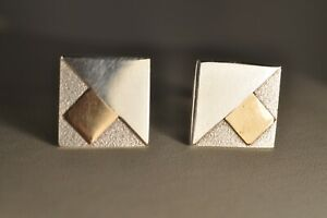 PAIRE BOUTONS MANCHETTE VINTAGE ARGENT MASSIF SIGNED SOLID SILVER CUFFLINKS
