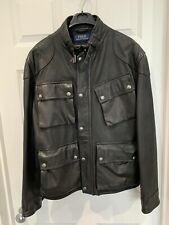 Ralph Lauren Polo Leather Jacket Black Large 42