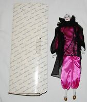 Vtg New Pierrot Porcelain Doll Pink Black 17 Clown Harlequin Pepi Box Mardi Gras