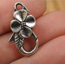 5pcs tibetan silver  flower 3D Lobster Jewelry hooks Claw Clasps