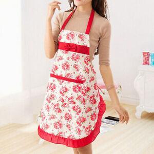 Women Floral Bowknot Waterproof Kitchen Restaurant Cooking Pocket Dress AproHCA