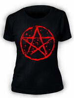 Pentagram T-Shirt SCREENPRINTED Ladies Womens Rock Goth Punk Metal Biker Gothic