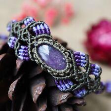 Macrame Bracelet Amethyst Cabochon Stone Handmade Sliding knot waxed Cord