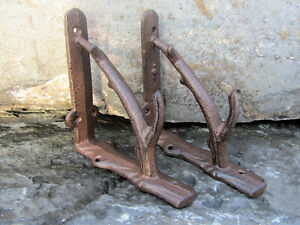 "Set 2 New Cast Iron 5.5"" x 5.5"" Shelf Brackets Antique-Style Twig Branch Lodge"