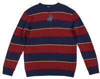 GANT C Wollmischung Streifen Kabel Herren Rundhals Sweatshirt Größe 2XL
