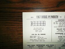1967 Dodge & Plymouth EIGHT Series Models 318 CI V8 2BBL w/CAP Tune Up Chart