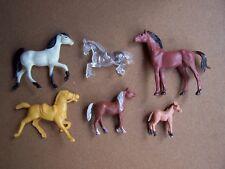 "HORSES set of 6 Vintage PVC Plastic 2.5"" - 1.5"" Rare OOP HTF one crystal clear"