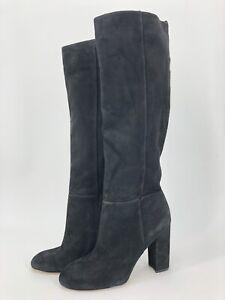 Sam Edelman SIZE:9 Caprice Black Suede Knee-High Block Heel Round Toe Dress Boot
