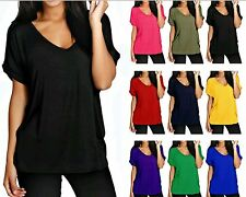 Ladies Women's V Neck Turn Up Short Sleeve Baggy Over-sized T Shirt