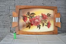 Grand plateau en verre, bois et métal fleurs peintes à la main - Années 40-50
